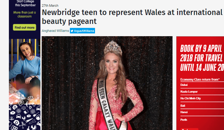 Mia-Rose Lewis, our newly crowned Miss Teen Galaxy Wales, has featured in her local press!