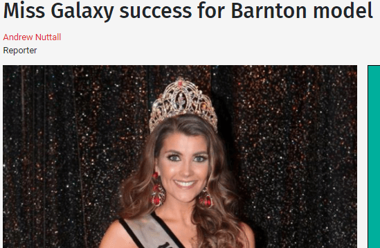 Newly crowned Miss Galaxy England, Kelsey Poulton, made her local headlines!