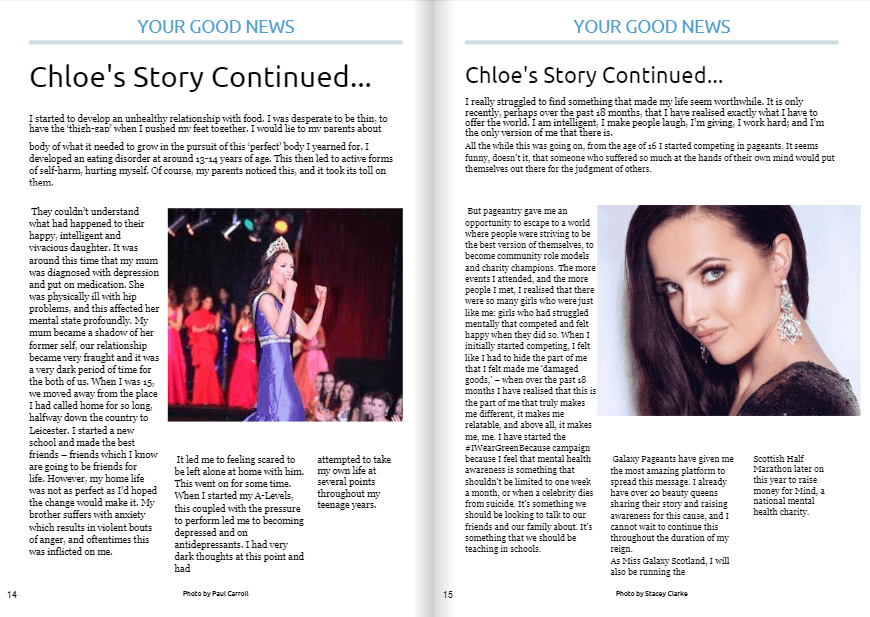 Good News About Mental Health In Our >> Miss Galaxy Scotland Chloe Lake Featured In Your Good News