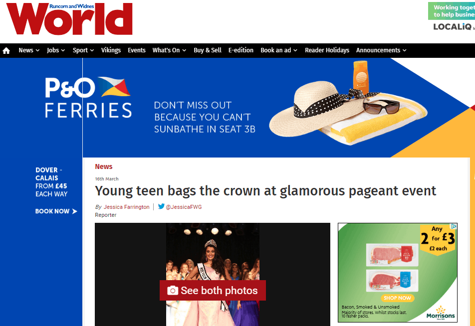 Miss Teen Galaxy – UK, Ruby Hill, made her local headlines!