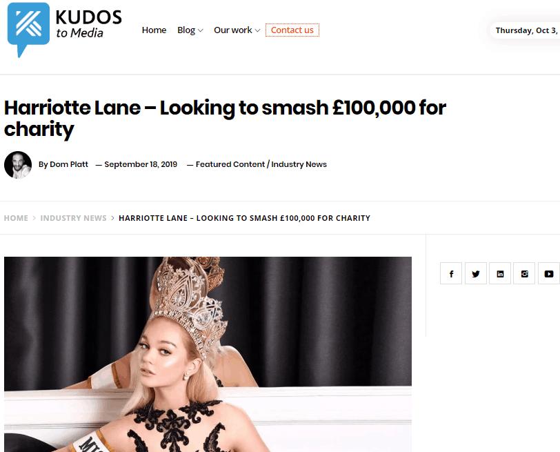 Miss International UK, Harriotte Lane, featured in her local press!