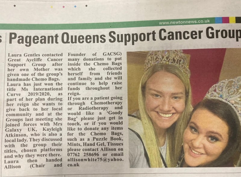 Mrs Galaxy UK, Kayleigh Atkinson, has been supporting her local cancer support group!