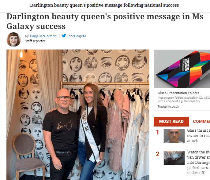 Ms Galaxy Europe, Rebecca Everson, made her local headlines with a special message!