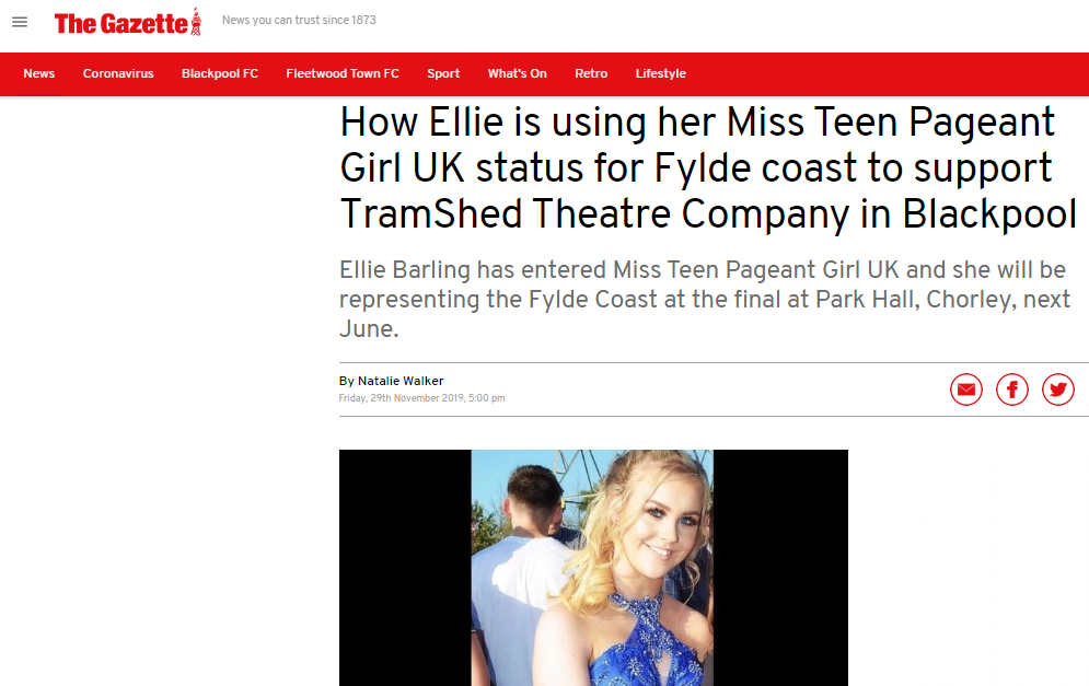 Miss Teen Pageant Girl Fylde Coast, Ellie, has been busy fundraising for TramShed Theatre Company!