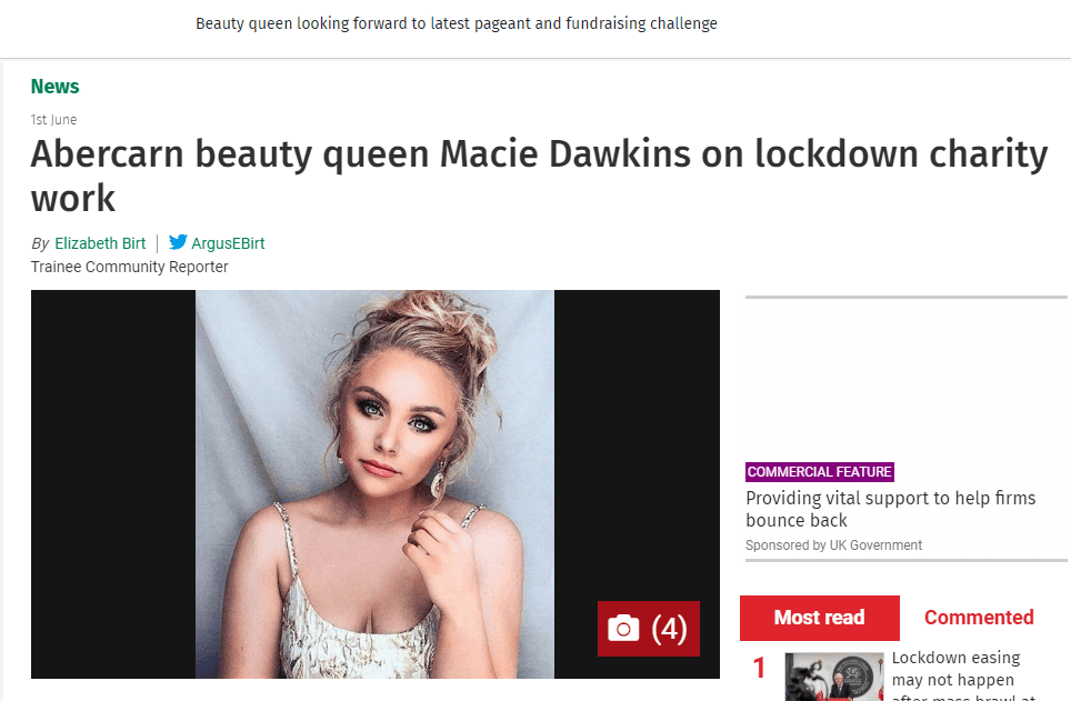 Miss Pageant Girl Gwent, Macie, has made her local headlines!