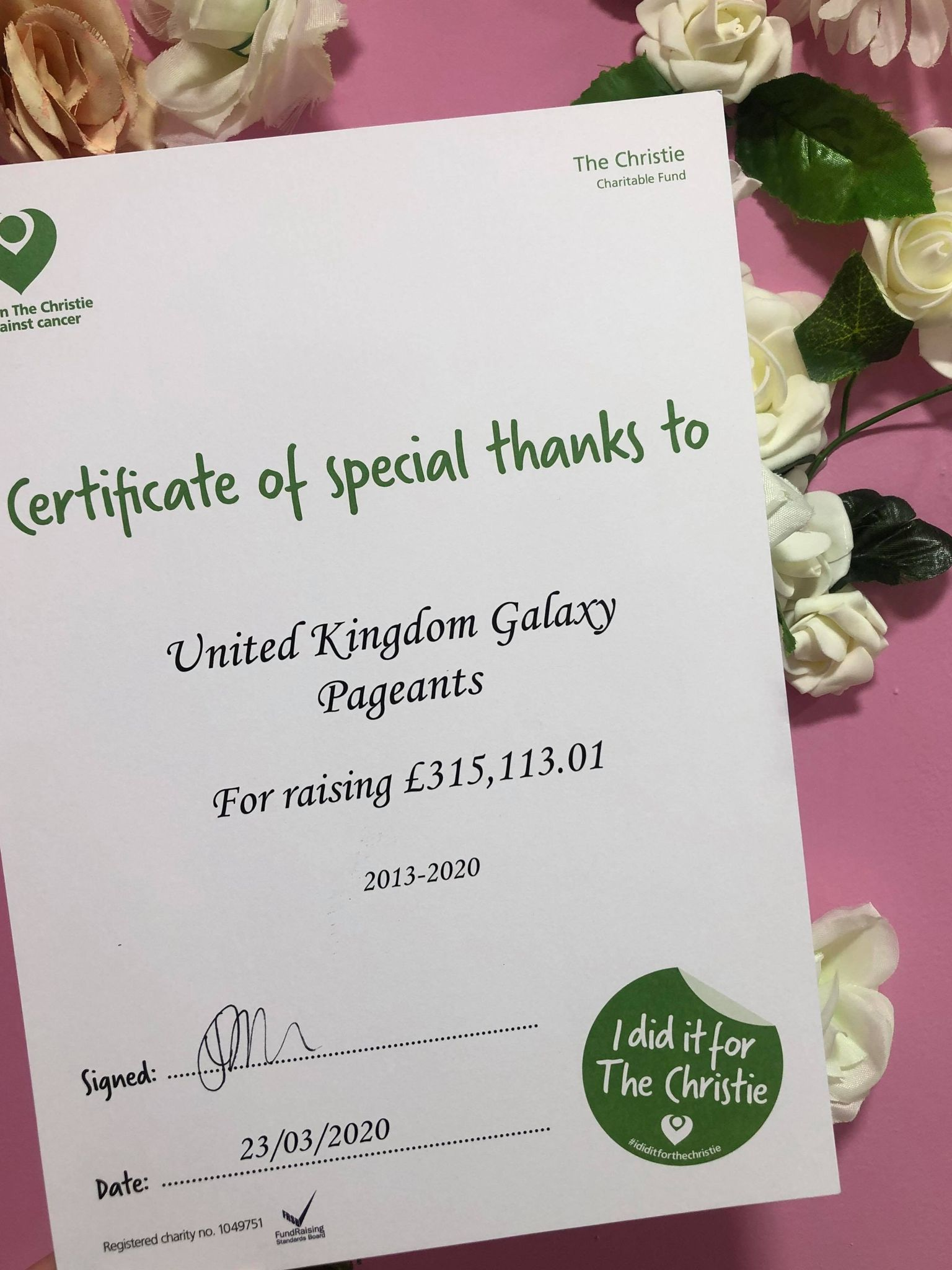 UK Galaxy Pageants raised over £300,000 for The Christie